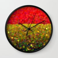 gold glitter Wall Clocks featuring Sparkle Glitter Red Gold by Saundra Myles