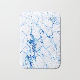 White marble with blue cracks Bath Mat