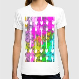 fork and spoon pattern with colorful painting abstract background T-shirt