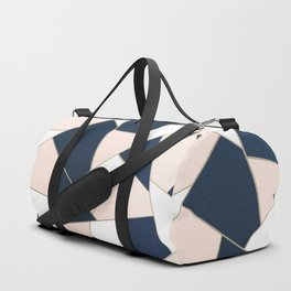 Navy Blue Blush White Gold Geometric Glam #1 #geo #decor #art #society6 Duffle Bag