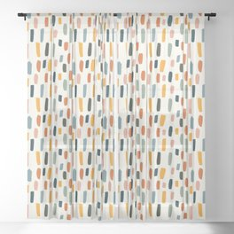 Rainbow Confetti Pattern Sheer Curtain