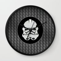 storm trooper Wall Clocks featuring Storm Trooper by Leslie Philipp