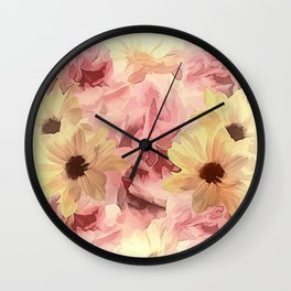 Soft Hazy Day Spring Floral Bouquet Wall Clock