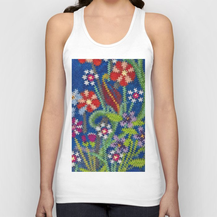 Starry Floral Felted Wool, Blue Unisex Tank Top