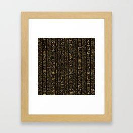 Egyptian hieroglyphs vintage gold on black Framed Art Print