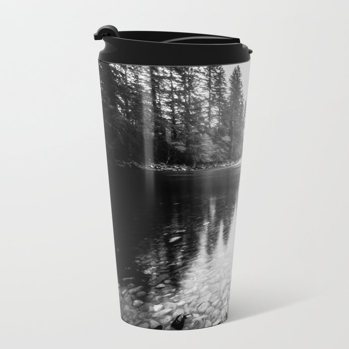 Forest Reflection Lake - Black and White Nature Water Reflection Metal Travel Mug