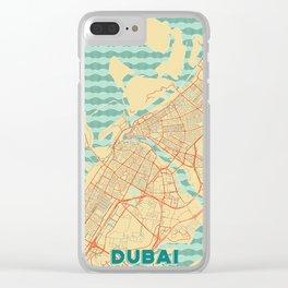 Dubai Map Retro Clear iPhone Case