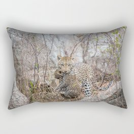 Mother Leopard carrying baby cub Rectangular Pillow