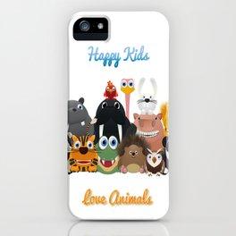 Happy kids love animals iPhone Case
