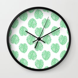 Palm Leaf tropical monstera house plant hipster mint and white home decor college dorm Wall Clock
