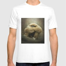Study of a Gibbon - The Thinker MEDIUM Mens Fitted Tee White