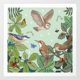 Woodland Birds Art Print