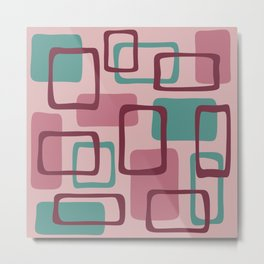 Mid Century Modern Abstract Squares Pattern 427 Metal Print
