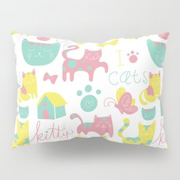 Abstract lime green pink cute cats pattern modern typography Pillow Sham