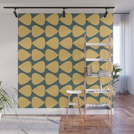 Plectrum Pattern in Mustard Yellow and Teal  Wall Mural