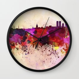 Istanbul skyline in watercolor background Wall Clock