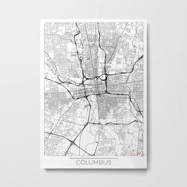 Columbus Map White Metal Print