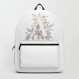 Fall Floral Monogram A - Rustic Alphabet Typography Backpack