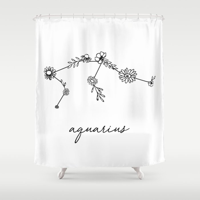 Aquarius Floral Zodiac Constellation Shower Curtain