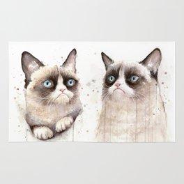 Grumpy Watercolor Cats Rug