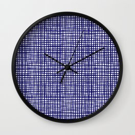 Grid indigo blue bold dramatic modern minimal abstract painting lines gridded pattern print minimal Wall Clock
