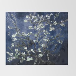 Vincent Van Gogh Almond Blossoms Dark Blue Throw Blanket