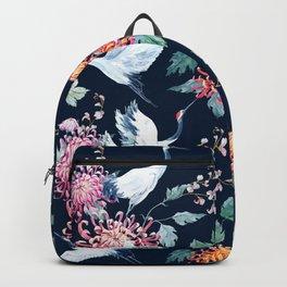 Vintage Japanese crane birds illustration pattern Backpack