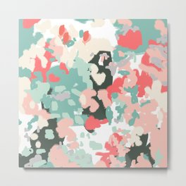 Ioro - painted abstract coral minimal mint teal bright southern charleston decor colors Metal Print