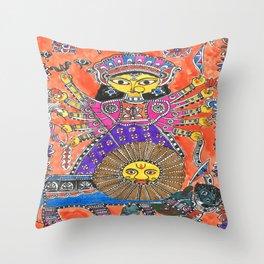 Madhubani - Orange Durga Throw Pillow