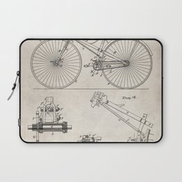 Cycling Patent - Bicycle Art - Antique Laptop Sleeve