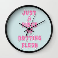 in the flesh Wall Clocks featuring flesh! by gasponce