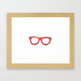 Red Nerd Glasses Framed Art Print