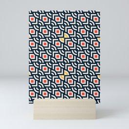 Round Pegs Square Pegs Navy Blue Mini Art Print