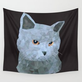 Low poly british cat Wall Tapestry