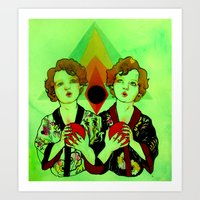 gemini Art Prints featuring Gemini by Meagan Alwood Karcic