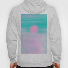 Abstract lavender teal pink watercolor sunset Hoody