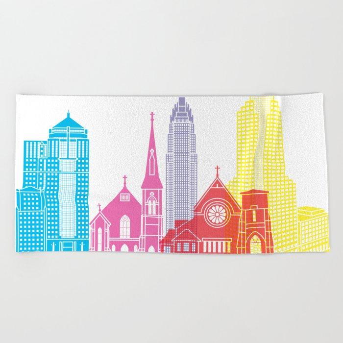 Charlotte skyline pop Beach Towel