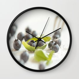 Fresh Bluebeeries with sugar Wall Clock