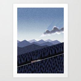 Mountain road at dusk Art Print