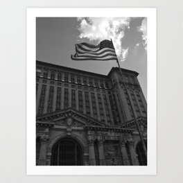 Michigan Central Station - Black & White Art Print