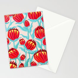 Bold Protea Flower Pattern - Red Yellow Green Stationery Cards
