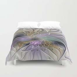 Abstract Flower, Colorful Floral Fractal Art Duvet Cover