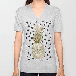 Gold Pineapple on Black and White Polka Dots Unisex V-Neck