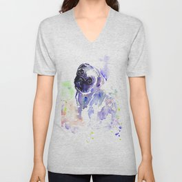 Purple Pug Puppy Unisex V-Neck