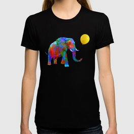 Crayon Colored Elephant with Yellow Balloon T-shirt