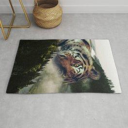 Tiger in foggy Landscape Rug