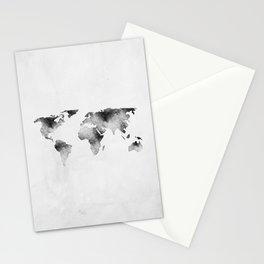 World Map - Hammered Metallic Monochrome Stationery Cards
