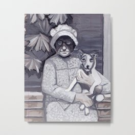 An Old Lady and Her Little Dog in Gouache Metal Print