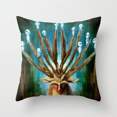 Princess Mononoke The Deer God Shishigami Tra Digital Painting. Throw Pillow