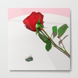 Fig Beetle & Rose Metal Print